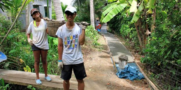Community service project in building a road